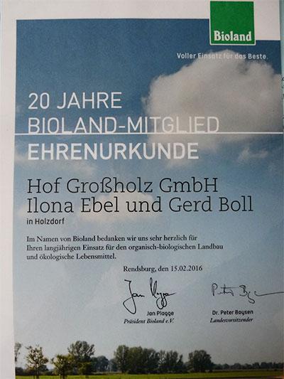 Biolandhof-Grossholz-Bioland-Urkunde